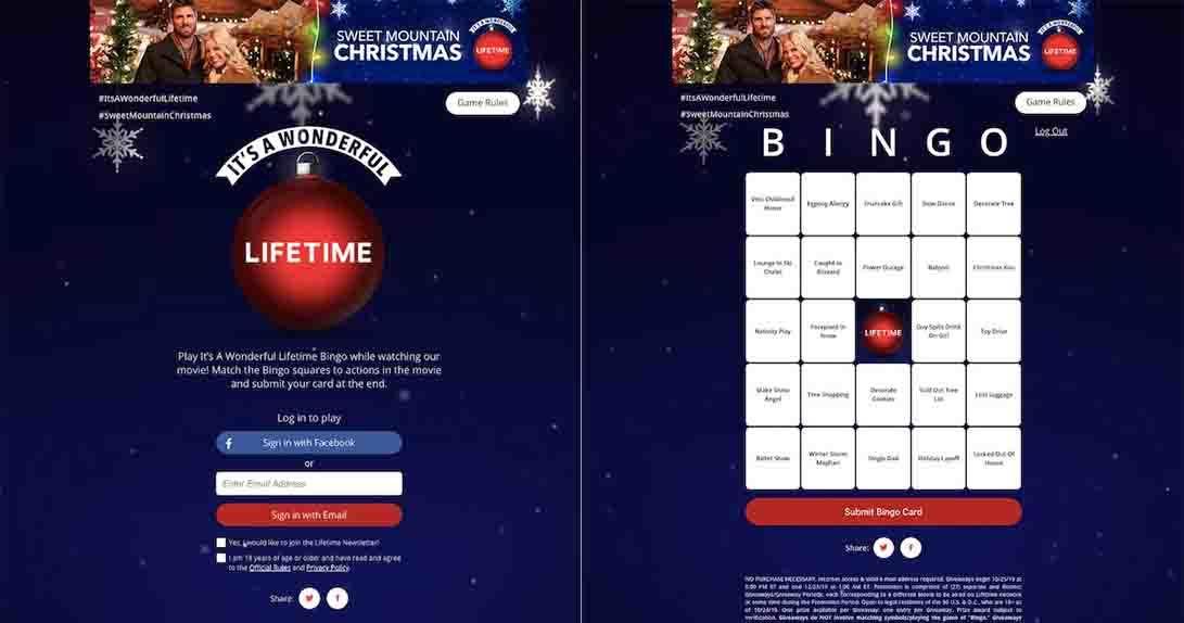 Lifetime Bingo app in mobile view with Bingo card