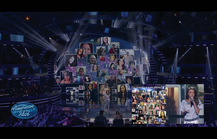 American Idol avatar images behind contestant singing