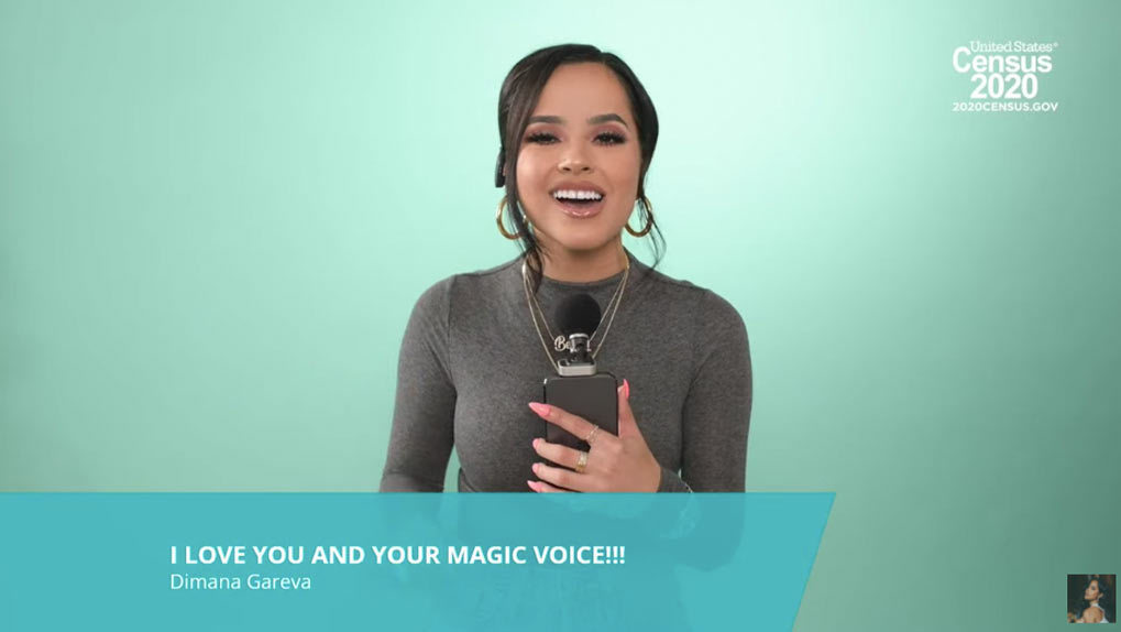Becky G singing with fan comment