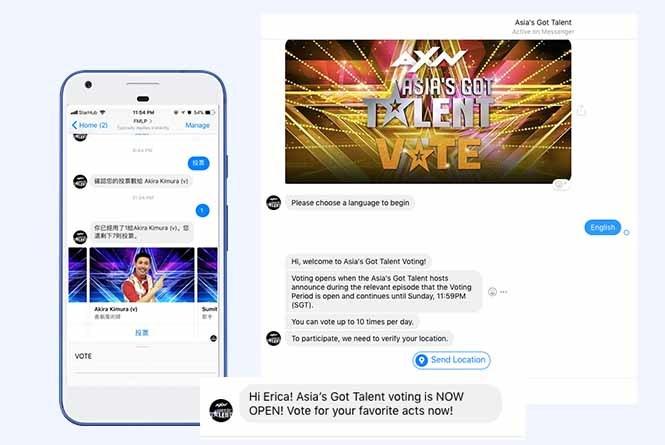 Mobile and desktop views of FB messenger vote