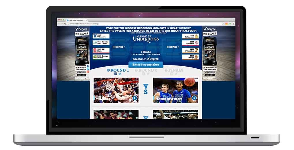 Online bracket vote for NCAA Underdogs inside laptop