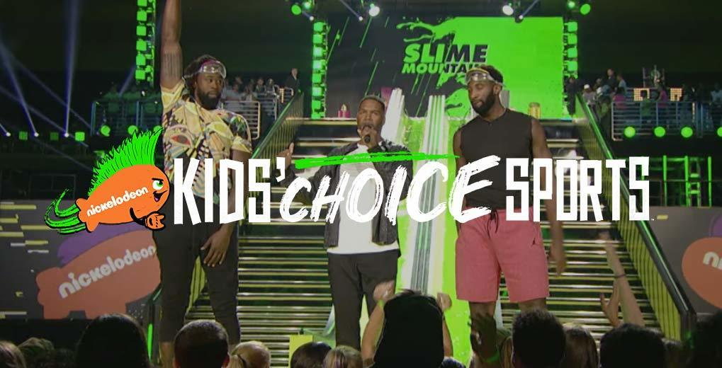 Kids Choice Sports logo on top of image of athletes on stage in front of audience