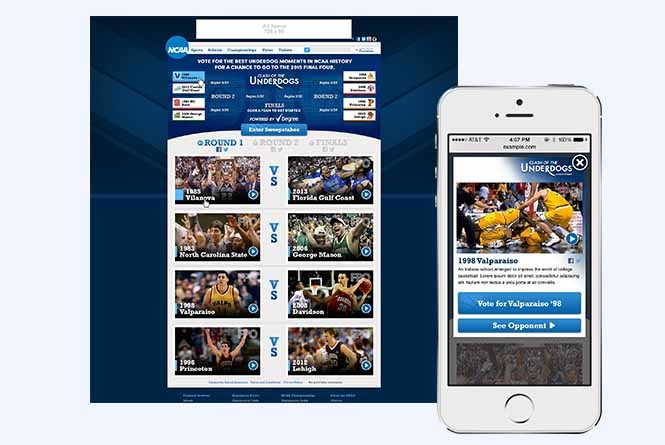 NCAA Underdogs bracket vote online desktop and mobile view