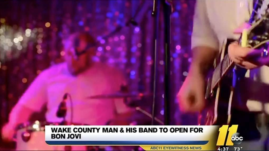 Local news station coverage of local band opening for Bon Jovi