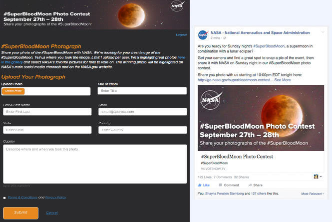 Blood Moon Contest Submission form and NASA facebook social post