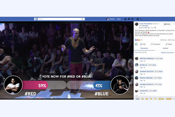 Facebook live stream with leaderboard graphics overlay displaying performers audience scores