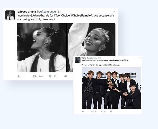 Screen grab of two Twitter posts sharing the user's write-in nomination for the Teen Choice Awards - one post for singer Ariana Grande and one post for boy band BTS