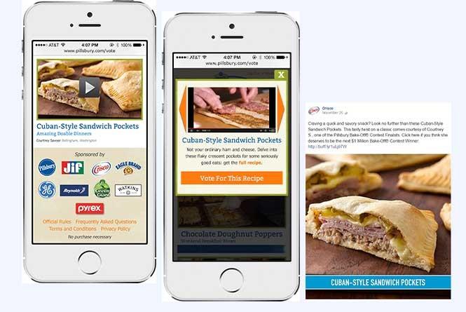 Mobile phone view of Pillsbury Bakeoff voting app, video player, FB voting post