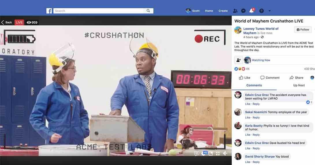Live stream in Facebook environment