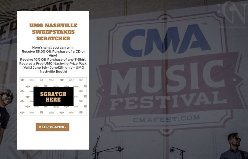 Scratcher at CMA Music Festival to win prizes at the event