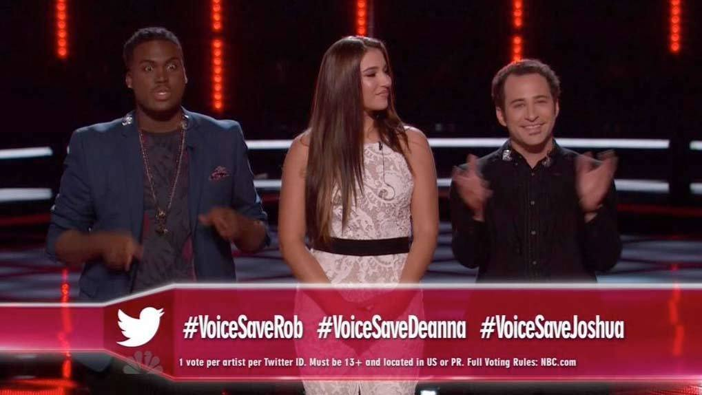 Voice contestants standing in line waiting for Voice save with graphic overlaid showing voice save