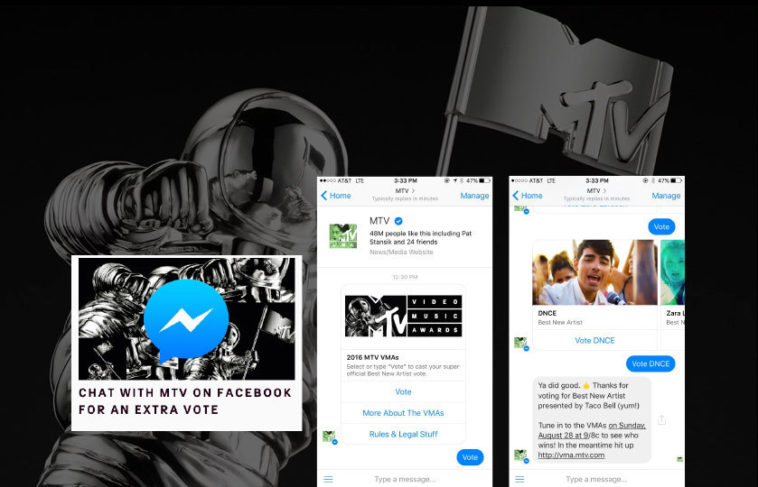 MTV VMAs messenger vote with contestant carousel