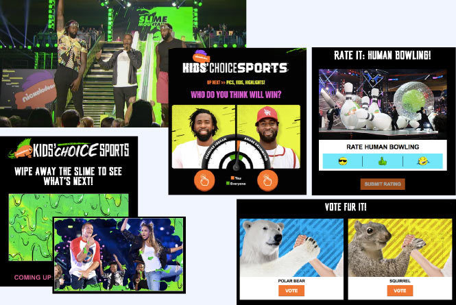 Campaign images showing interaction of products including: wipe away slime game Vote Fur It vote and human bowling