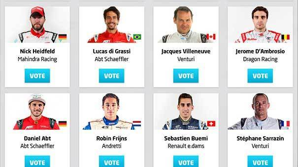 Formula E Standard vote with landing page of multiple contestants