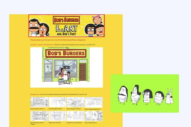 Bob's Burgers fan art gallery page