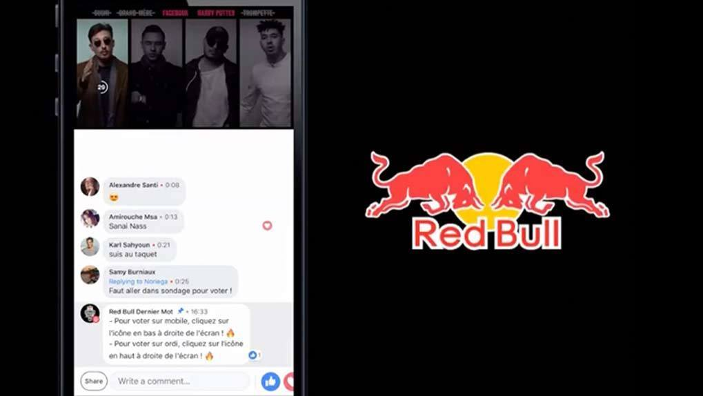 Phone screen streaming FB video and comments and Red Bull logo