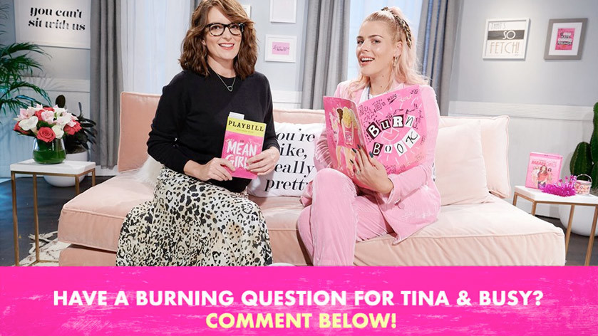 Mean girls live stream with Tina Fey and Busy Phillips custom graphics