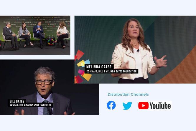 Bill Gates, Melinda Gates, Jacinda Ardern and Pedro Sanchez during live streams