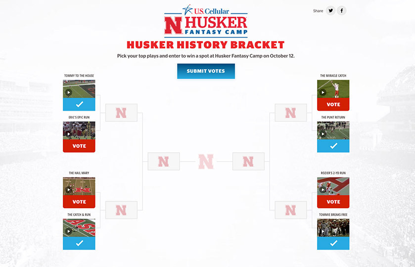 Example of bracket voting layout - Huskers football