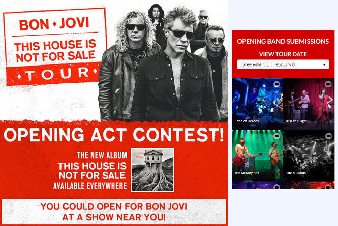 Opening Act contest Poster and fan feed of various band's video up for consideration