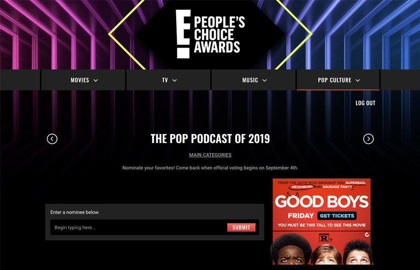 E! People's Choice Awards online write-in voting page with form to submit a nominee name