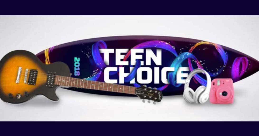 Teen Choice surfboard with guitar headphones and camera
