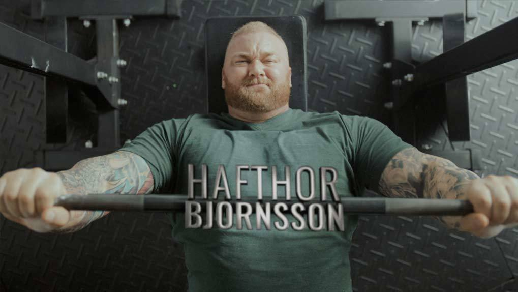 Hafthor Bjornsson working out with weights
