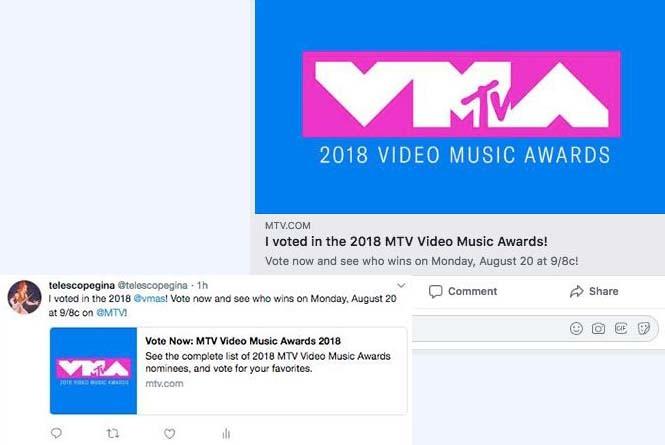 social shares of the VMAs vote