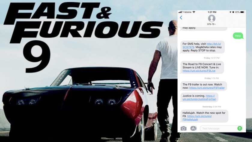 Fast & Furious 9 SMS Alerts