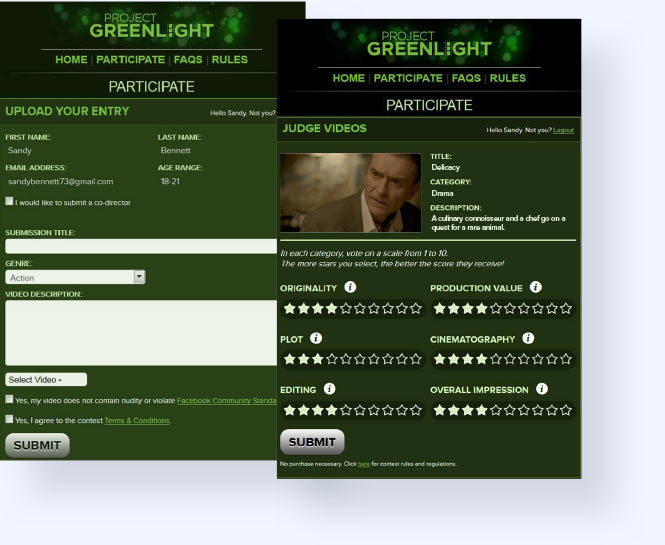 Project Greenlight custom vote and judging application