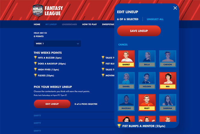 Fantasy League Landing page and contestant picking page