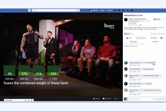 Facebook live stream prior to challenge, showcasing a Facebook native poll overlaid in screen and users comments to the right