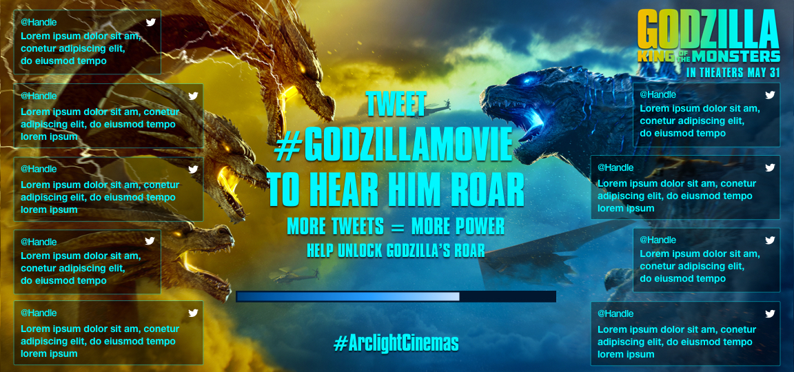 Twitter Wall filling up with tweets and fiery blue breath of godzilla